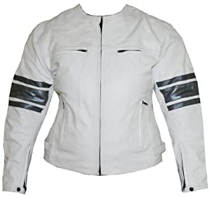 Womens Leather Jacket Motorcycle Armor Ladies White GM by Jackets 4 Bikes