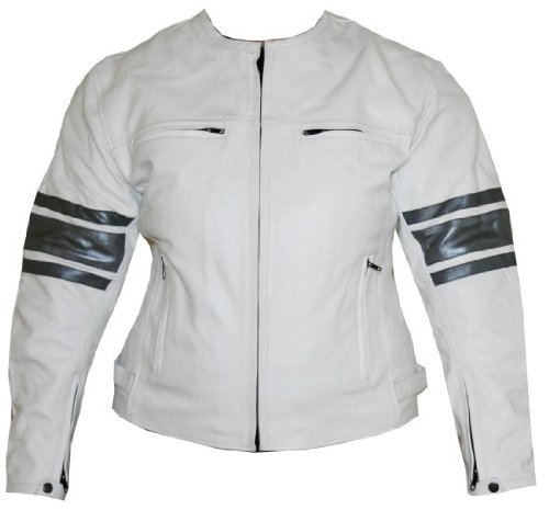 6090 Ladies Leather Jacket Motorcycle Armor White