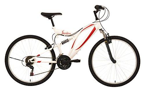 """F.lli Schiano Mountain Bike Freedom Bicicletta Biammortizzata, Bianco/Rosso, 26"""""""