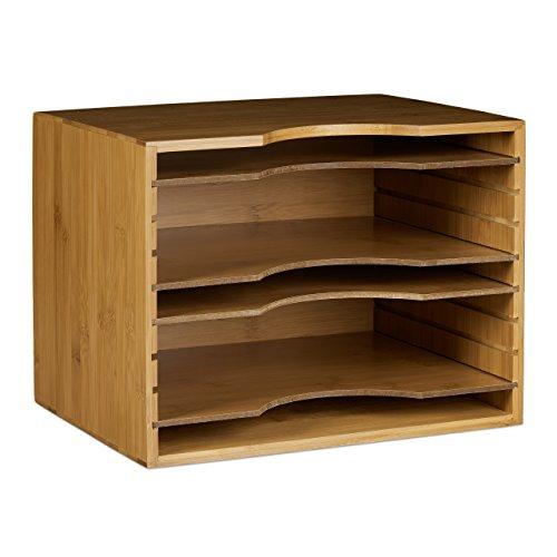 Relaxdays Briefablage aus Bambus HBT: ca. 26,5 x 33,5 x 24,5 cm Ablagesystem für den Schreibtisch Dokumentenablage mit 4 variablen Einlegeböden Papierablage aus Holz für Briefe und Unterlagen, natur