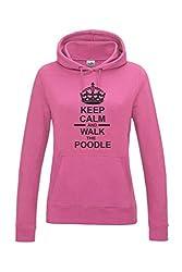 Keep Calm & Walk The Poodle Dog Womens Hooded Sweatshirt