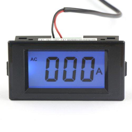 Drok 0-1000A Ac Digital Ammeter Gauge Blue Lcd High Current Meter, Ac/Dc 8-12V Powered