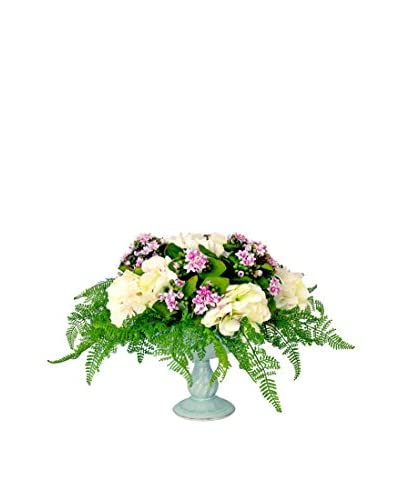 Creative Displays Inc. Kalanchoe and Hydrangea Pedestal Bouquet, Pink/White/Green