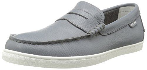 Cole Haan Men's Pinch Leather Weekender Loafer, Grey Leather/White, 9.5 M US
