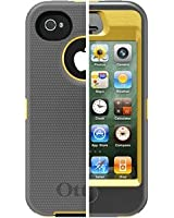 OtterBox 77-19664 Defender Series APL2-I4SUN - Case for cellular phone - silicone, polycarbonate - gunmetal gray, sun yellow - for Apple iPhone 4, 4S
