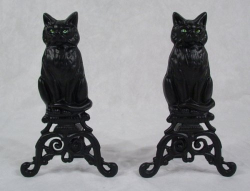 Best Review Of PAIR of BLACK CAT Andiron Fireplace Hearth Fire Dogs - CAST IRON