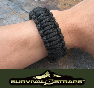 Large/Black Survival Straps Brand Parachute Cord 