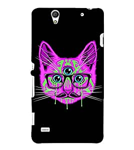 ANIMATED THREE EYED CAT WITH SPECTACLES 3D Hard Polycarbonate Designer Back Case Cover for Sony Xperia C4 Dual E5333 E5343 E5363 :: Sony Xperia C4 E5303 E5306 E5353