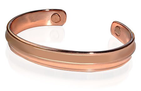 Mens 10 mm Bold Magnetic Copper Cuff Bracelet 7.5