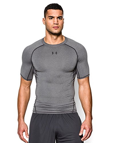 Under Armour Men's HeatGear Armour Short Sleeve Compression Shirt, Carbon Heather (090), Small