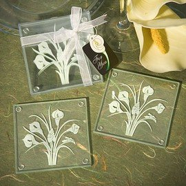 Calla Lily Bouquet Design Glass Coaster Sets (Set of 2)