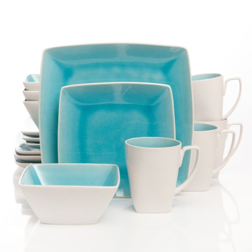 Gibson Elite Urban Luxe 16-Piece Dinnerware Set, Turquoise