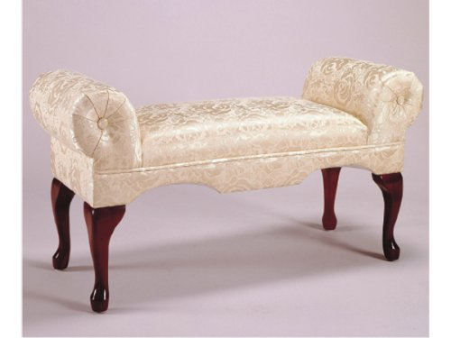 Arm Bench, Ivory Fabric w/ Cherry Wood Legs