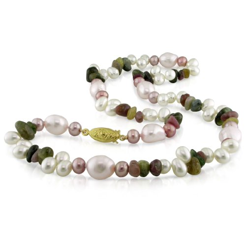 Multi Colored Tourmaline Stone and Fresh Water Dyed Pink and White Pearl Necklace (9-10 mm)