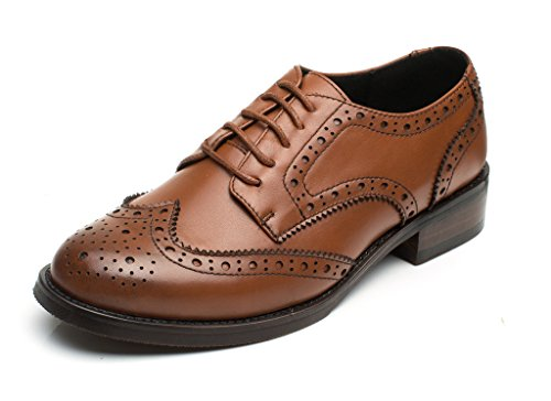 U-lite Brown Perforated Lace-up Wingtip Leather Flat Oxfords Vintage Oxford Shoe Women BR 8