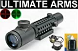 Ultimate Arms Gear Tactical 2-6x28 Dual Red & Green Illuminated P4 Mil Dot Sniper Rangefinder Military Reticle Rifle-Shotgun Scope w/ Integral Tri Rail Weaver-Picatinny System and Mounting Base