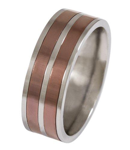 SIX MAN silbener Edelstahl-Ring in Gr.64 mit zwei bronzefarbenen Streifen (110-855)