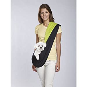 East Side Collection Polyester Reversible Sling Dog Carrier, Black and Green
