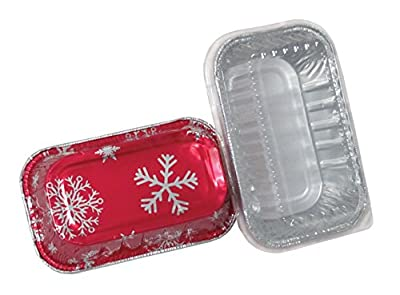 Durable Packaging 9302X Holiday Aluminum Mini Loaf Pan with Plastic Dome Lid (Pack of 100 Pans with Dome Lids)