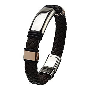 Inox Jewelry Brown Braided Leather & Stainless Steel with Push & Slide Buckle Bracelet for Men available at Amazon for Rs.3400