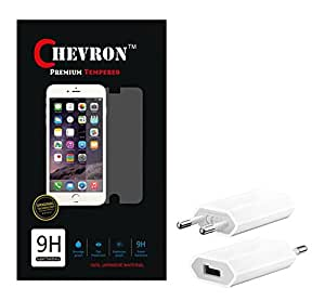 Chevron 0.3mm Tempered Glass Screen Guard Protector For Micromax A310 Canvas Nitro With USB Mobile Wall Charger
