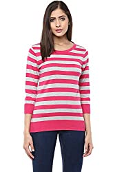 Ajile by Pantaloons Women's Boat Neck Sweater (205000005647156, Pink, Large)