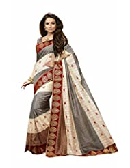 Vipul Jamdani Silk Grey Flower Printed Saree With Attached Border