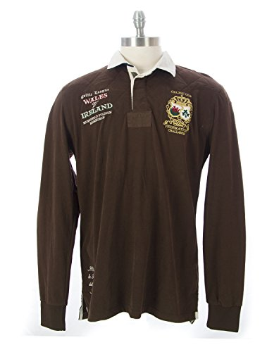 ITALIAN RUGBY STYLE Men's Long Sleeve Cotton Polo Shirt L Brown (Italian Rugby compare prices)