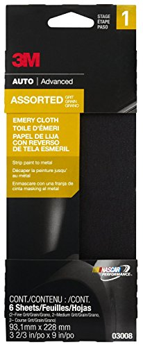 "3M 03008 3-2/3"" X 9"" Emery Cloth With Assorted Grit Sizes"