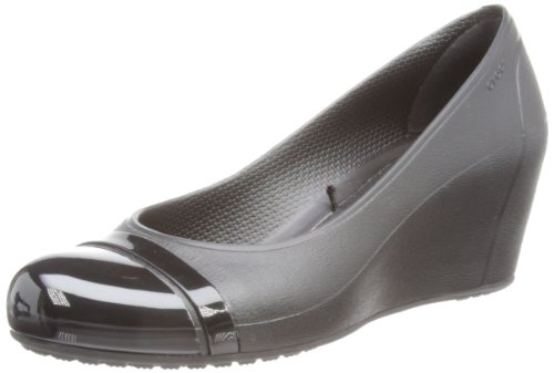 crocs Women's Cap Toe Wedge Sandal,Black/Black,10 M US