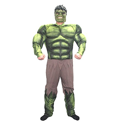 JWUP Men's Plus Size Halloween Cosplay Costumes The Avengers 2 Hulk Onesie Costume