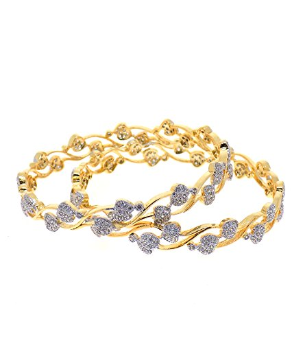 Aabhushan Jewels Aabhushan Jewels Gold Plated American Diamond Bangles For Women (Yellow)