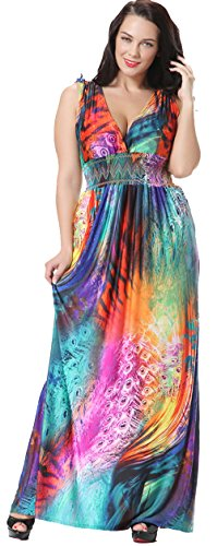 Jusfitsu Women's V-neck Floral Printed Beach Boho Maxi Dress Plus Size Colorful 5XL (Colorful Maxi Dress compare prices)