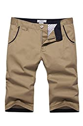 RUAYE Men\'s Cotton Slim Fit Flat Front Shorts Khaki US Size 38(Lable Size 40)