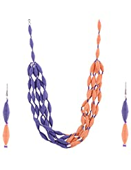 Kashish Designz Half And Half Necklace Set For Women ( Purple And Orange )