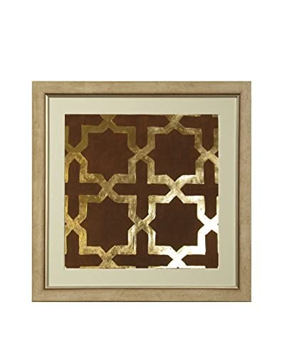 Art Source Gold Leaf Brown Background Print I, Multi