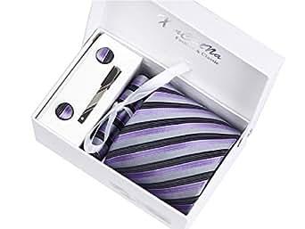 Rayures Violet foncées et Gris Ensemble Cravate d'homme , Mouchoir , épingle et boutons de manchette coffret cadeau
