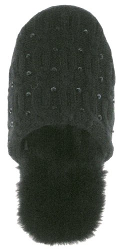 Image of Capelli New York Cable Rows Soft Acrylic Knit Scuff W/ Sequins Ladies Slipper (B00495ULRY)
