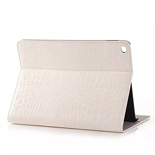 iPad Air 2 Etui Housse Coque de protection en pu cuir pour Apple iPad air 2 avec fonction Smart Cover /fonction éveille et mise en veille, Position du support ajustable (iPad Air 2, blanc)