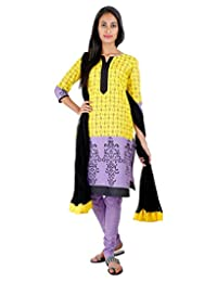 3Pce Suit - Empire Yellow Cotton Printed Kurta With, Chudi And Cotton Dupatta