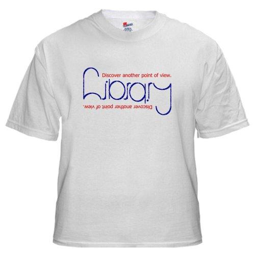Ambigram T-Shirt Librarian White T-Shirt by CafePress – L White