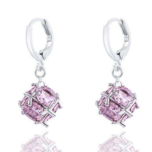 YC Top rosa strass elegante Ball-Shape Charm Donna Orecchini a cerchio