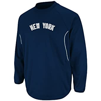 MLB New York Yankees Long Sleeve Crew Neck Thermabase Tech Fleece Pullover Block... by Majestic