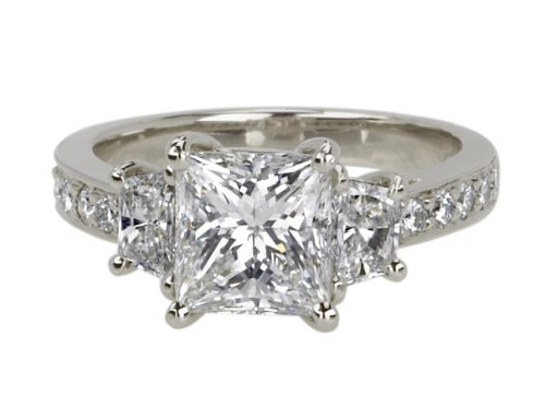 Platinum PrincessCut 3Stone Diamond Ring (GIA Certified 2.16 ct center, 3.19 cttw, G Color, VS1 Clarity), Size 6