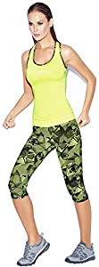 Haby Women Activewear Set Gym Outfit Fitted Silhouette Top Capris Leggings Neon