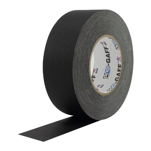 """2"""" Width ProTapes Pro Gaff Premium Matte Cloth Gaffer's Tape With Rubber Adhesive, 11 mil Thick, 55 yd Length, Black (Pack of 1)"""
