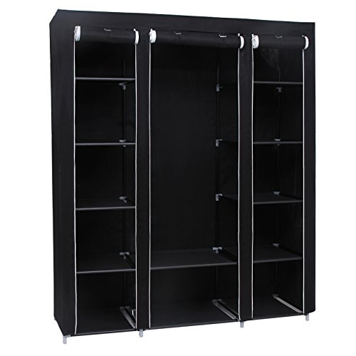 songmics xxl 175 x 150 x 45 cm stoffschrank kleiderschrank faltschrank mit kleiderstange schwarz. Black Bedroom Furniture Sets. Home Design Ideas