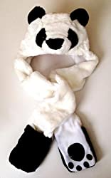 Panda Bear Long Animal Faux Fur Head Trapper Hat Hood / Scarf / Snood / Gloves all in one Ladies / Men / Kids / Children