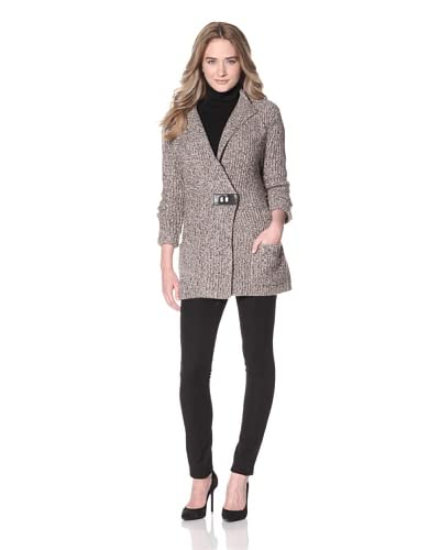 Magaschoni Women's Knit Jacket  [Cafe Creme/Natural Black]