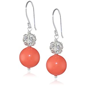 Coral Colored Shell with Fireball Accents Drop Earrings